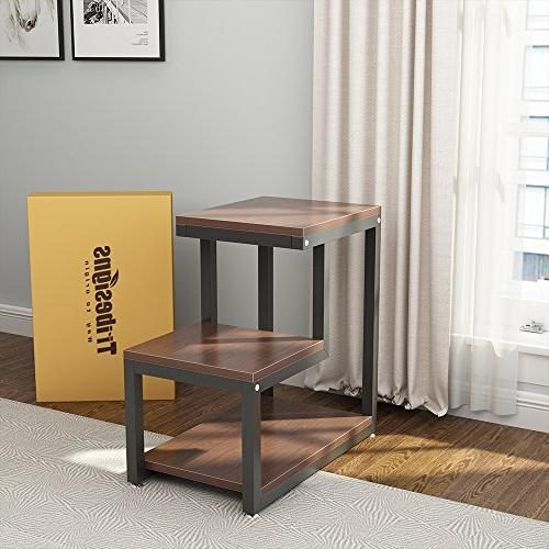 Tribesigns Rustic 3-Tier Night with Shelf for Bedroom