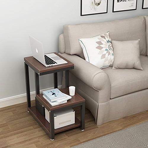Tribesigns End 3-Tier Side Night Stand with Shelf Living Bedroom