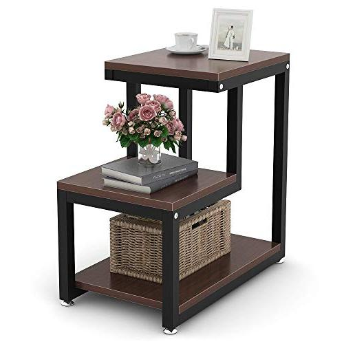 Tribesigns Rustic End Table, 3-Tier Table Night Shelf Living Bedroom