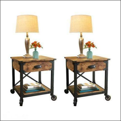 Rustic End Tables Country Pine Finish Wood & Metal Side Nigh