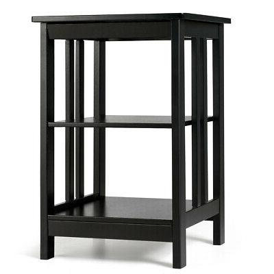 3-tier Side Table Nightstand  Sofa End Table W/ Baffles & Ro
