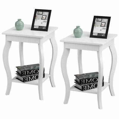 2-Set Bedroom Elegant Accent Side Table Nighstand Coffee Tab