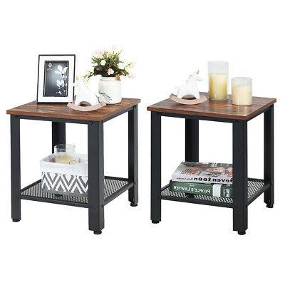 set of 2 industrial end table 2tier