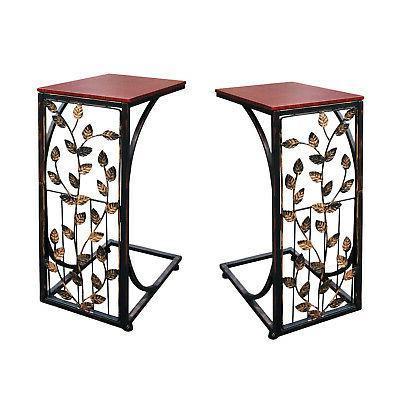 Set of 2 Leaf Side Sofa End Table - Wood Top & Metal Frame C