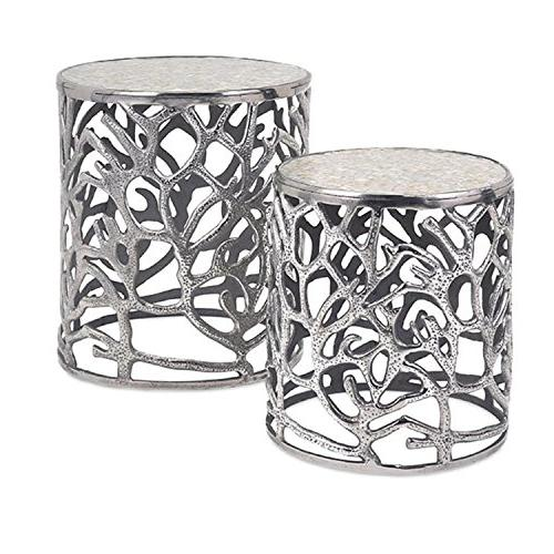 set of 2 metallic silver coral inspired