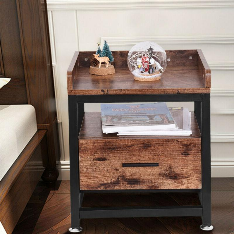 Wooden End Table Nightstand w/Drawer Bottom Shelf A