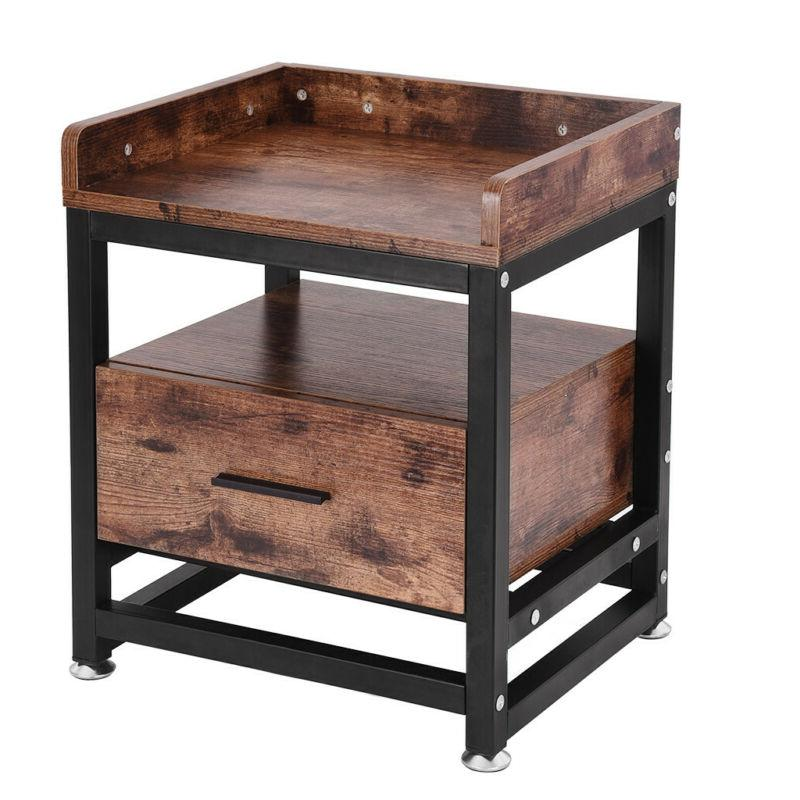 Wooden Bedside Table Decor w/Drawer A