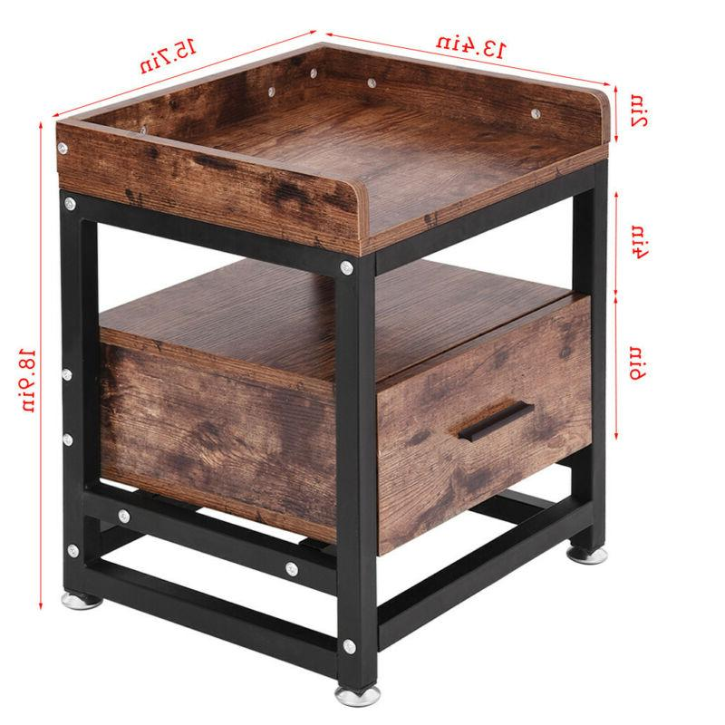 Wooden Side Table w/Drawer & Shelf A