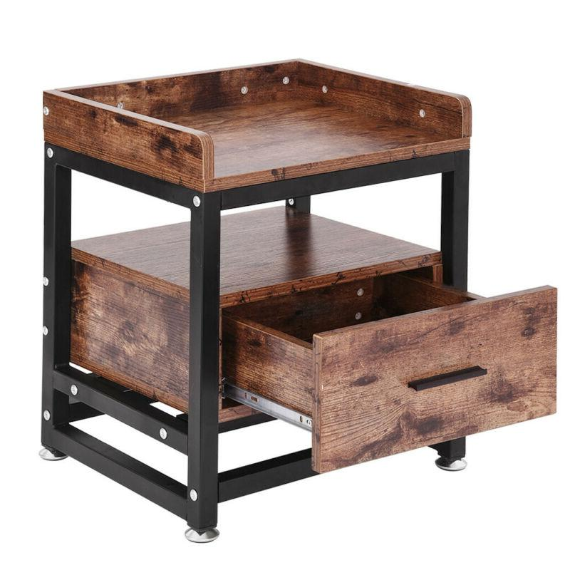 Wooden End Side Bedside Table Nightstand Bedroom Decor w/Dra