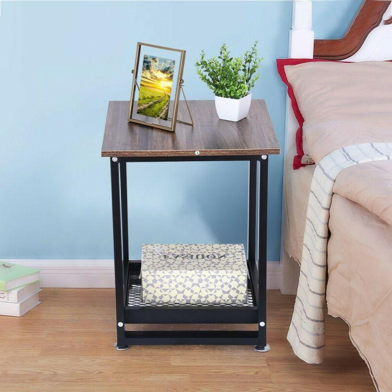 2 Tier Sofa Coffee Side Table End Table Square/Round Storage