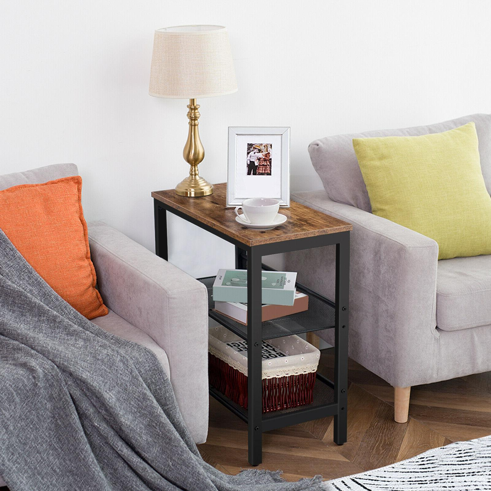 side table 3 tier narrow end table