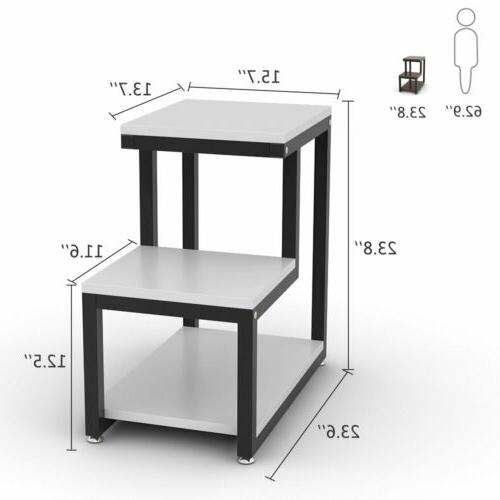 3-Tier End Table Night with Shelf Room or