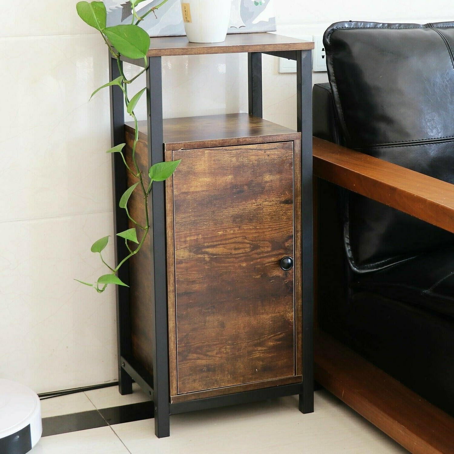 side table end mesh shelves industrial wood