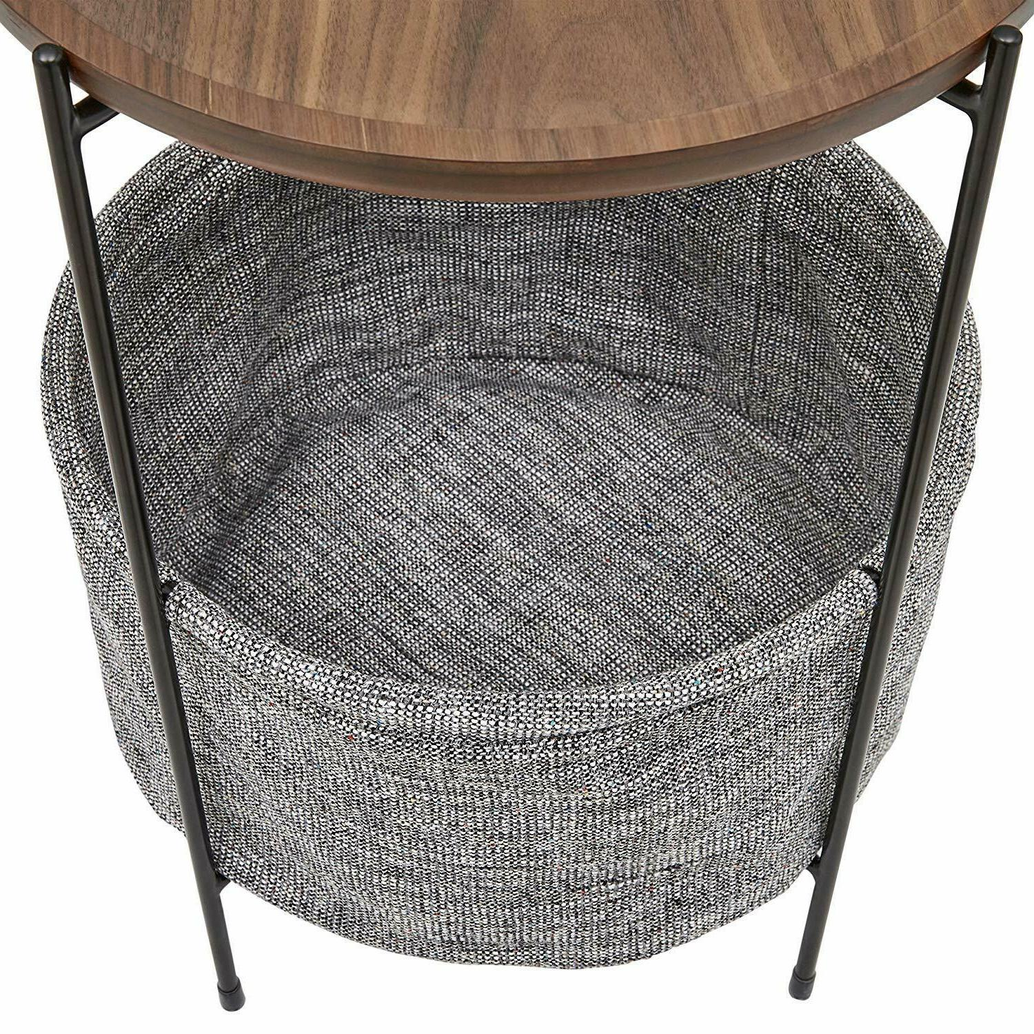 Side Table Storage Basket Rivets Living Room