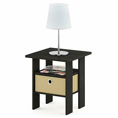Side Spaces Narrow Bedside End Tables Stand Wood