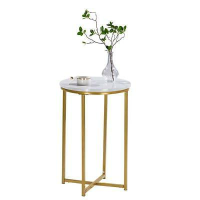Modern White Marble Side Table with Gold Frame 1 Tier Lounge