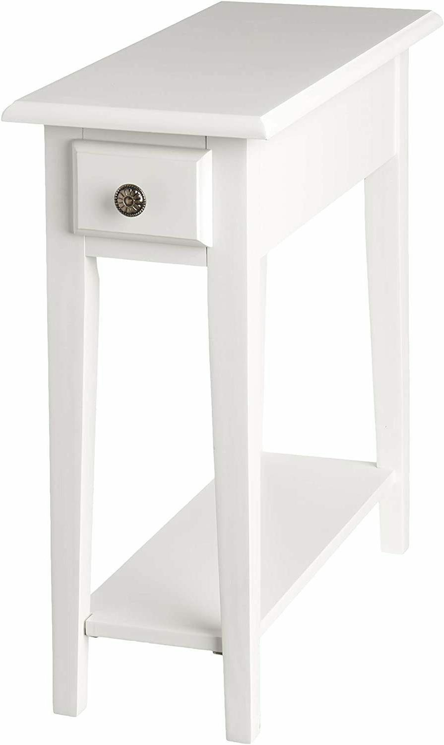 small chair side end table storage narrow