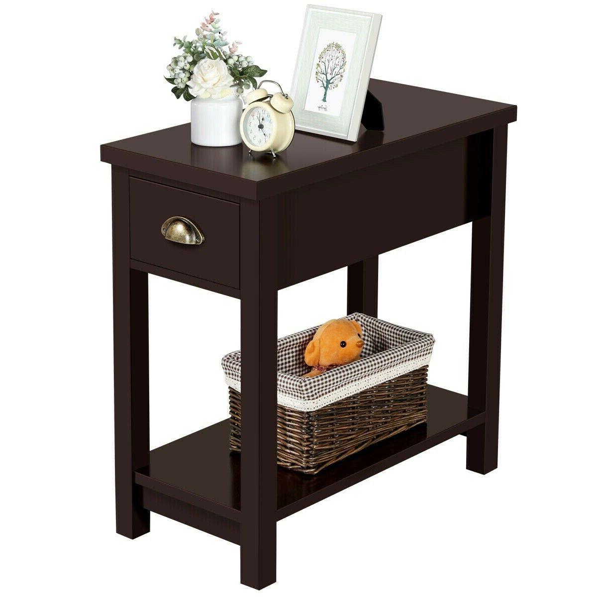 small end table narrow side storage espresso