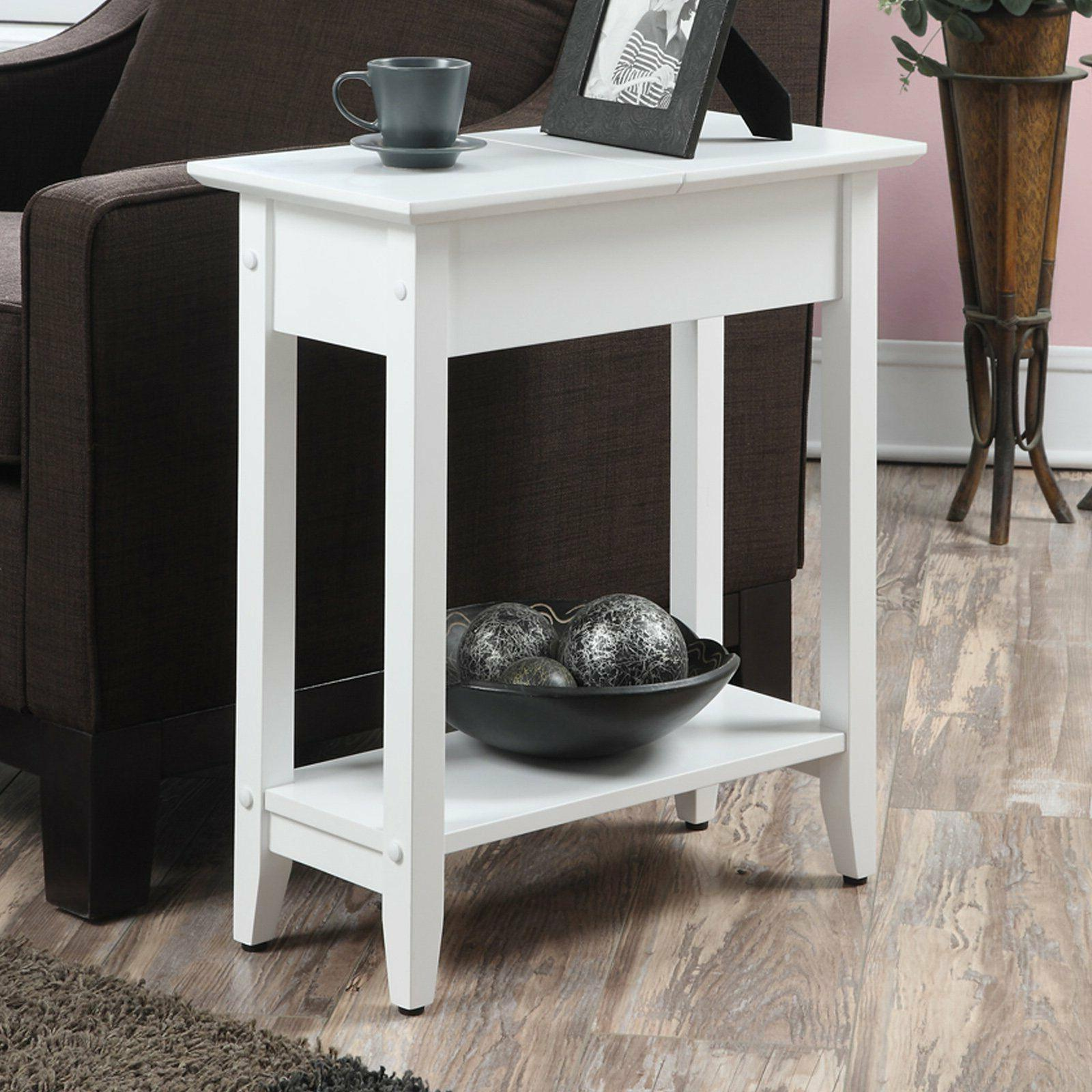 Small Flip Top End Table Storage Shelf Side Accent Living Ro