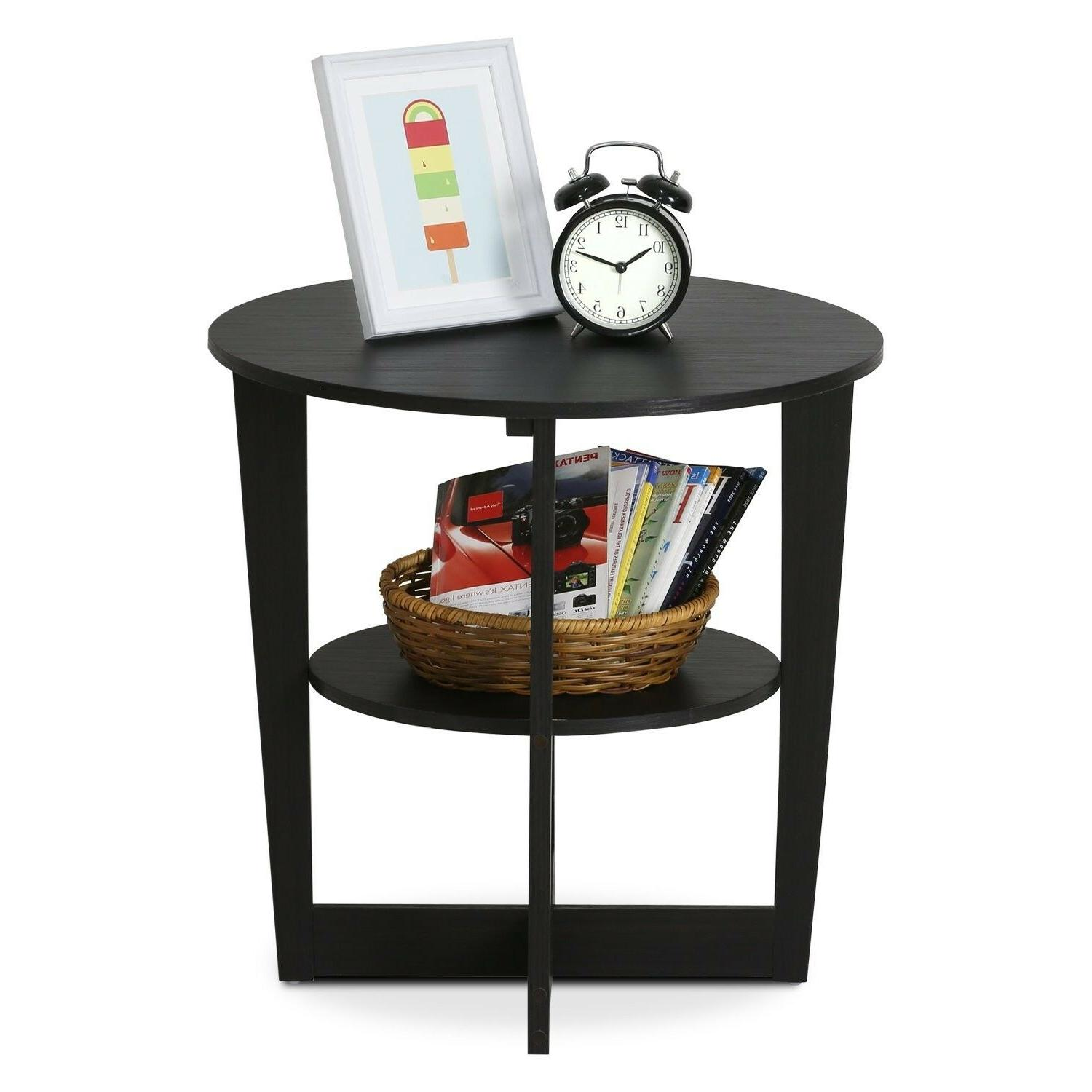 Small End Table Nightstand Oval Wooden