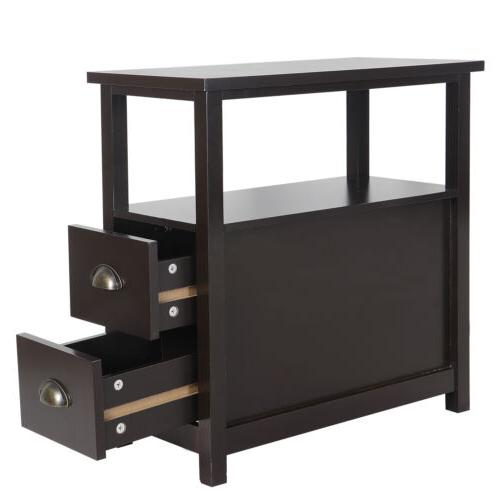 Sofa Table with 2 Drawer Solid Wood Furniture Storage
