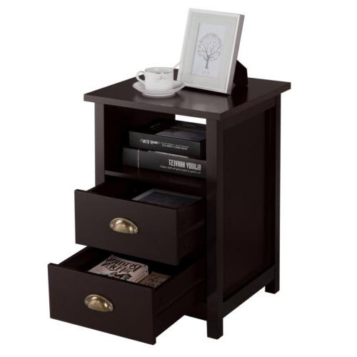 Small End Table Storage Wood Living Furniture with 2 Drawer