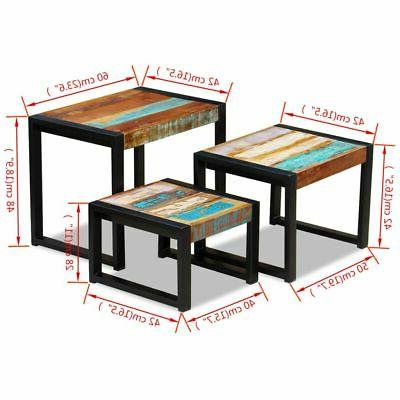 vidaXL Solid Nesting 3 Piece Side Tables✓