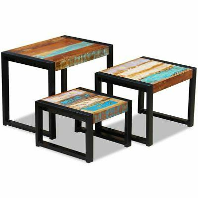 solid reclaimed wood nesting coffee table set
