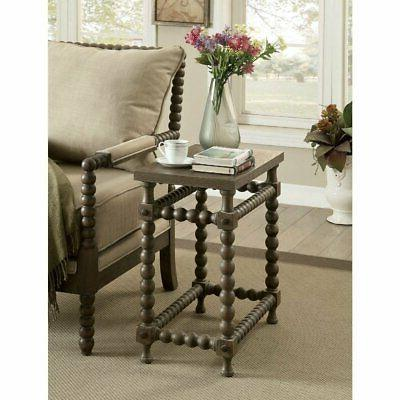 Solid Wood Side Table with Beaded Pattern Base, Brown