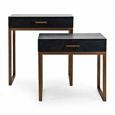 Spacious Mango Wood Gold Side Table
