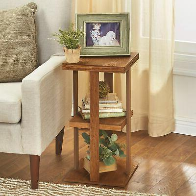 square side table with distressed farmhouse style