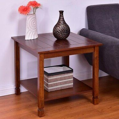Square Wooden Side End Table Nightstand W/ Storage Shelf Liv