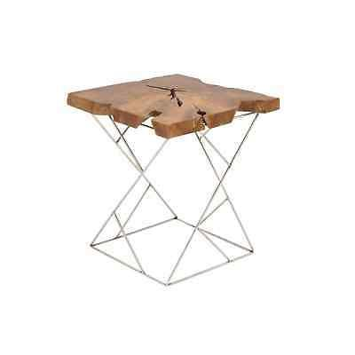 Studio 350 Teak Metal Side Table 19 inches wide, 21 inches B