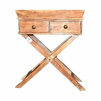 Benzara Stylish and Sturdy Wooden Side Table with 2 Drawers,