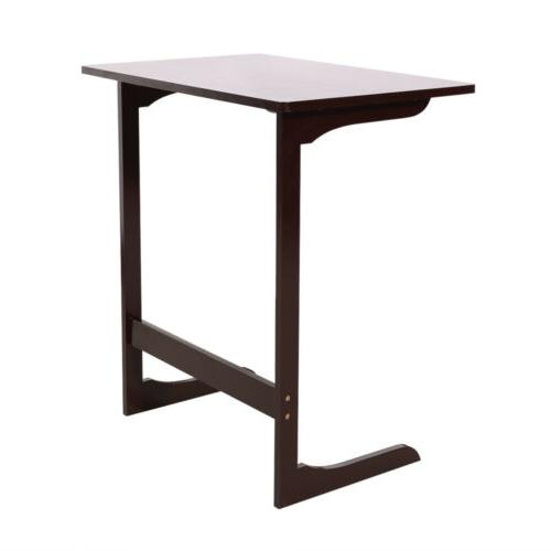 Stylish Side Table Console L Shaped Laptop Desk Coffee Color