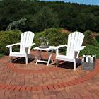 Sunnydaze All-Weather Adirondack Chair Set of 2 with Side Ta