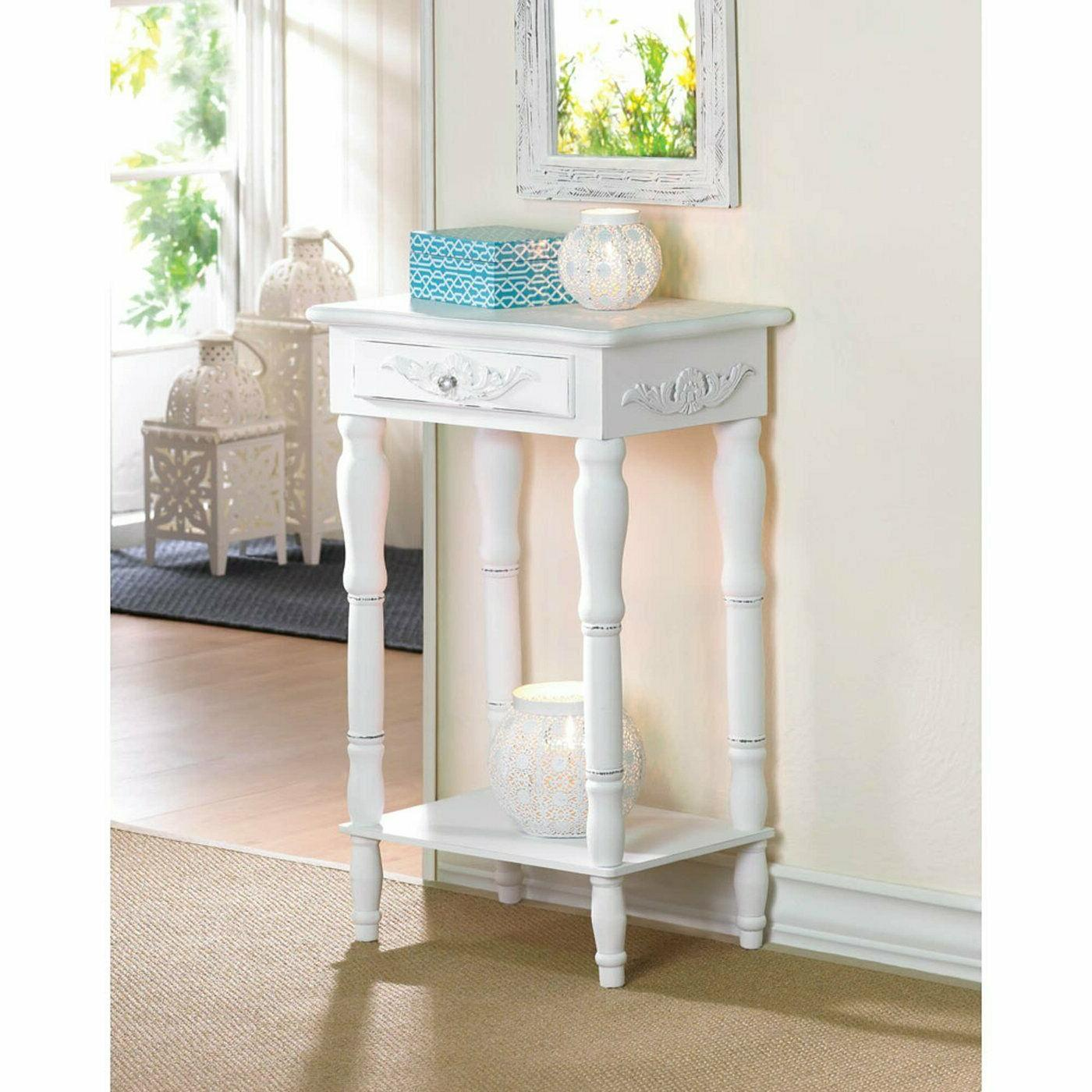 TABLE: SHABBY COTTAGE CHIC DISTRESS WHITE NIGHT STAND END TA
