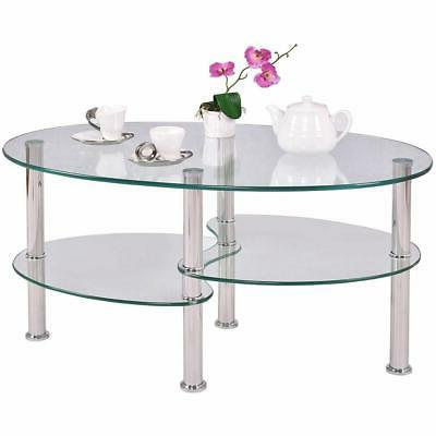 Clear Glass Oval Side Coffee Table Shelf Chrome Base Living