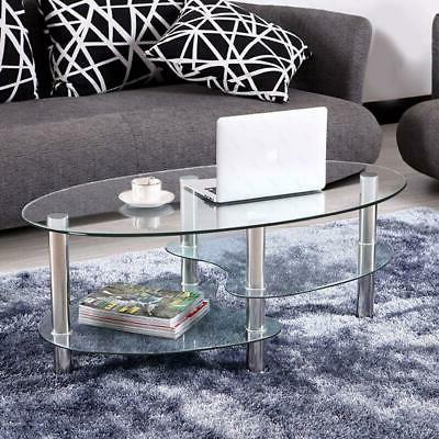 tempered glass oval side coffee table transparent