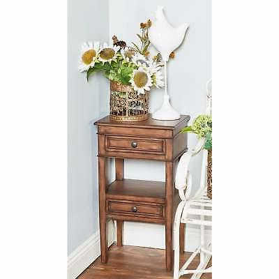 Traditional 29 Inch Brown Wooden Table Drawers Brown