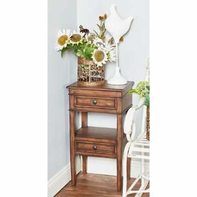 traditional 29 inch brown wooden side table