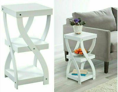 twisted side table white wood 3 tier