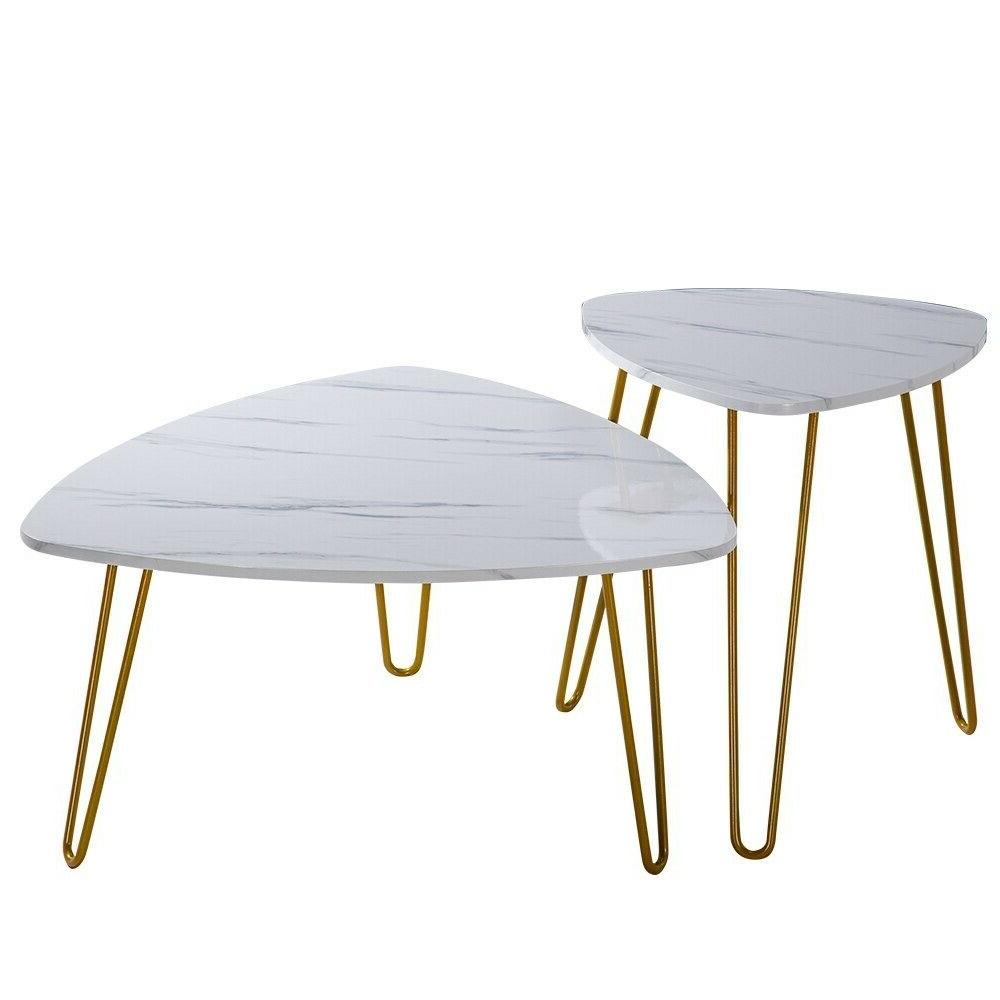 Two Colors Marble Iron Feet Table 2 Side