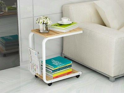 U-Shaped Side Table Portable Snack Tray Standing Desk Wheels