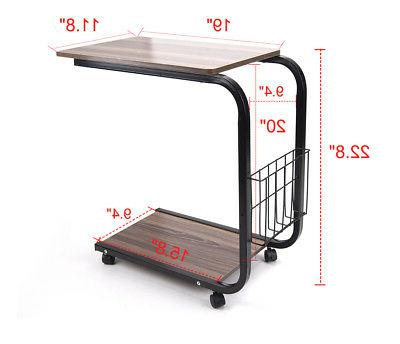 U-Shaped Table Portable Snack Cart Tray Standing