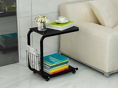 u shaped side table portable snack cart