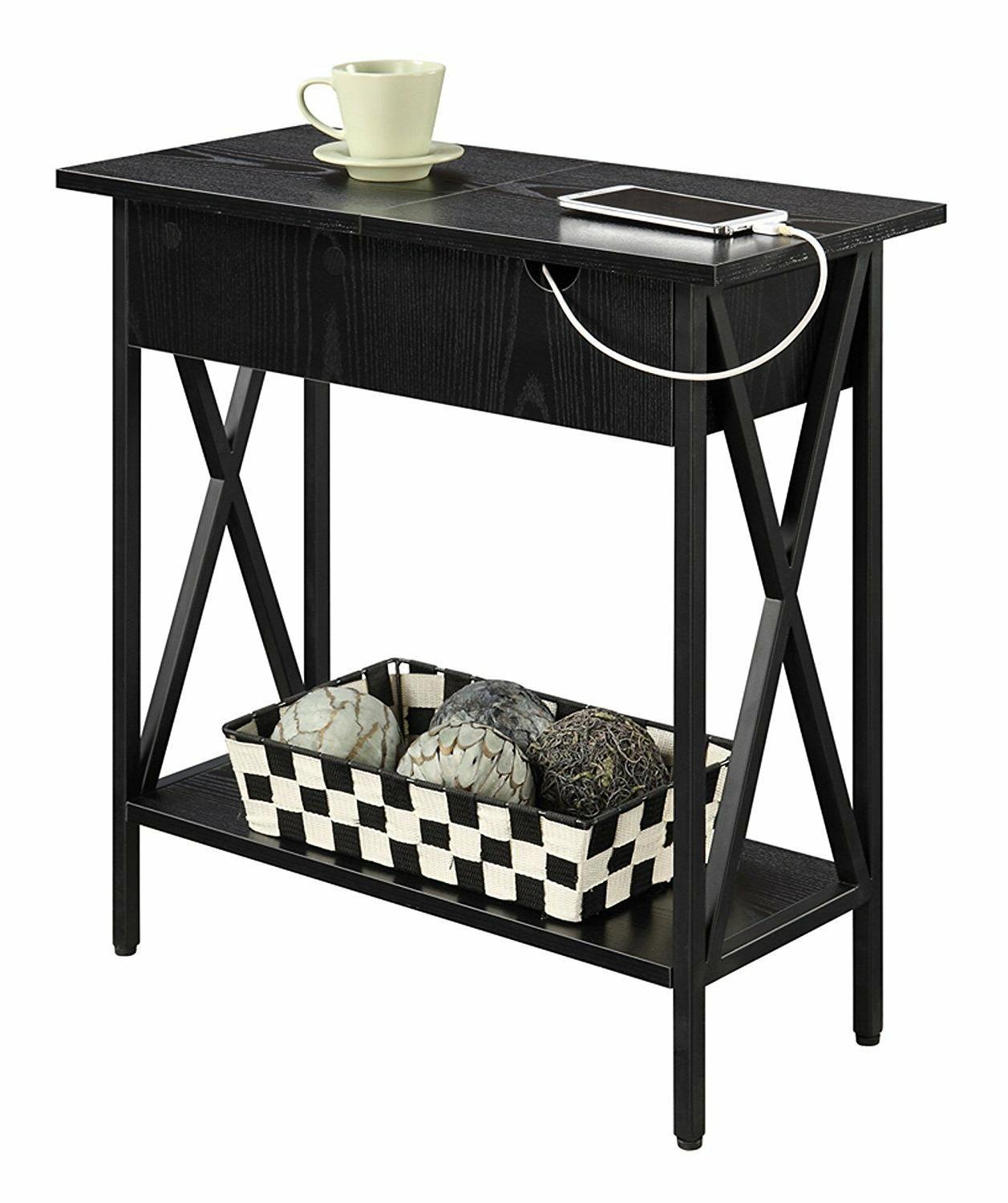 USB Side Table With 2 Electric Ports End Storage Flip Top Sh