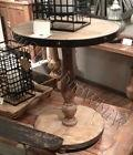 "Weathered Fir Wood Pedestal Side Table Natural 26"" Round Riv"