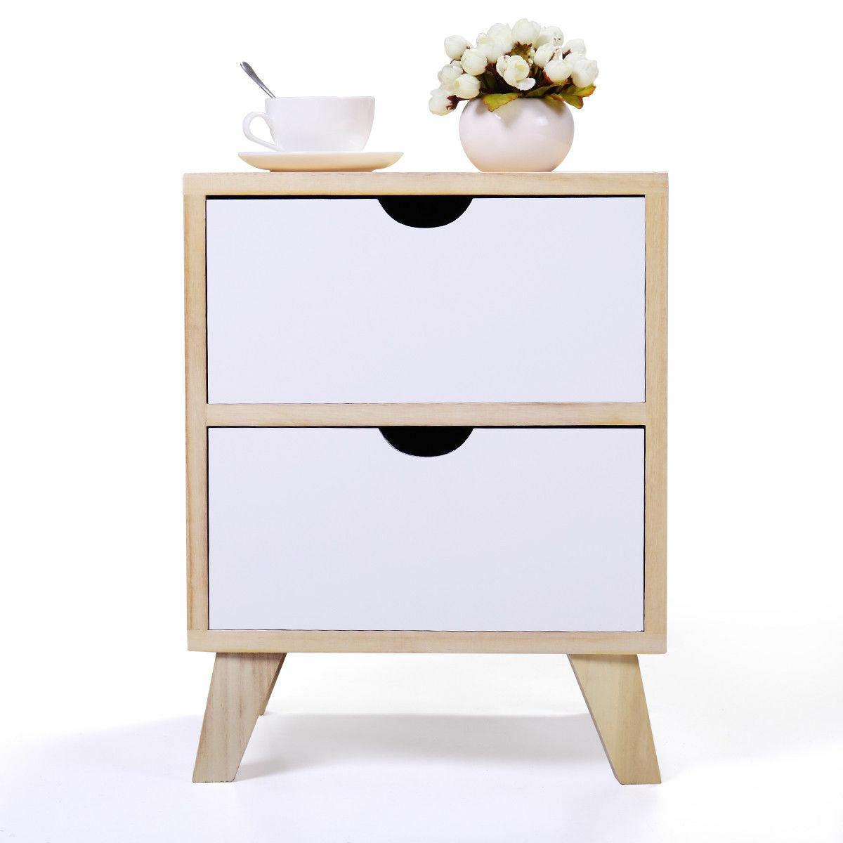 White Wood Bedside Table Furniture/Side Table