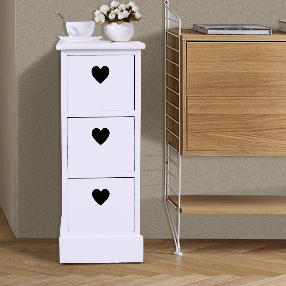 White Wood Bedside Table Table